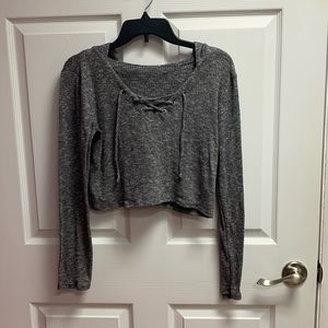 Grey Cross Front Crop Hoodie